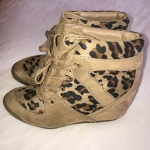 Cheetah Print Lace-Up Booties, Heels, Forever 21